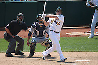 OAKLAND, CA - JULY 10:  Jack Cust of the Oakland Athletics hits a home run in the bottom of the 9th inning during the game against the Seattle Mariners at the McAfee Coliseum in Oakland, California on July 10, 2008.  The Athletics defeated the Mariners 3-2.  Photo by Brad Mangin