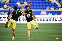 Harrison, NJ - Wednesday July 06, 2016: Osvaldo Martinez, Javier Guemez during a friendly match between the New York Red Bulls and Club America at Red Bull Arena.