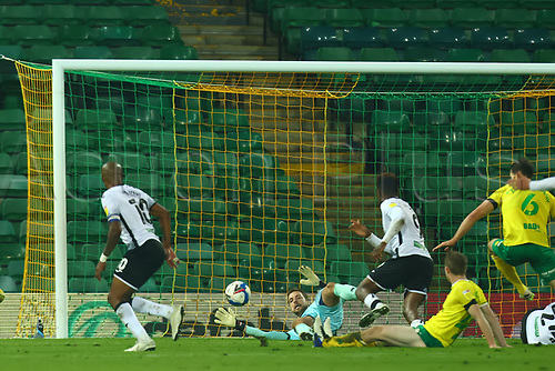 7th November 2020; Carrow Road, Norwich, Norfolk, England, English Football League Championship Football, Norwich versus Swansea City; Tim Krul of Norwich City makes a save from a shot by André Ayew of Swansea City