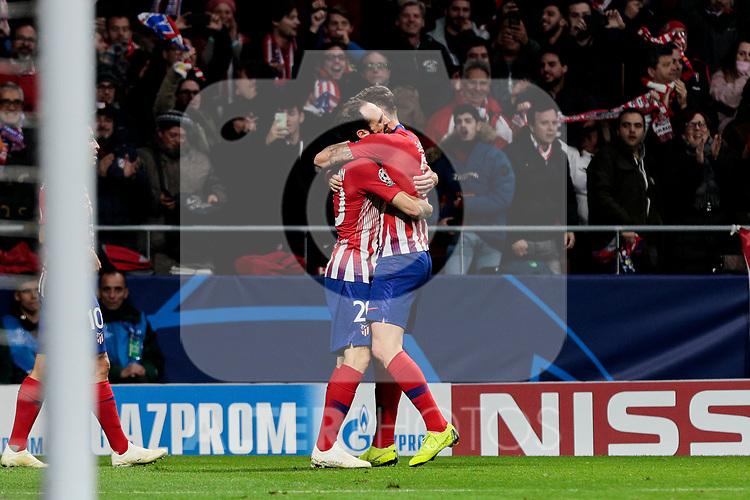 Atletico de Madrid's Juanfran Torres (L) and Saul Niguez (R) celebrate goal during UEFA Champions League match between Atletico de Madrid and Borussia Dortmund at Wanda Metropolitano Stadium in Madrid, Spain. November 06, 2018. (ALTERPHOTOS/A. Perez Meca)