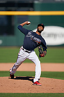 Atlanta Braves pitcher Carl Edwards Jr. (56) during a Major League Spring Training game against the Boston Red Sox on March 7, 2021 at CoolToday Park in North Port, Florida.  (Mike Janes/Four Seam Images)