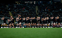The All Blacks perform the haka during the Bledisloe Cup rugby match between the New Zealand All Blacks and Australia Wallabies at Eden Park in Auckland, New Zealand on Saturday, 14 August 2021. Photo: Simon Watts / lintottphoto.co.nz / bwmedia.co.nz