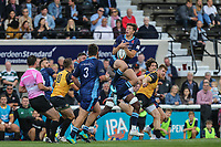 Joe Luca Smith of London Scottish collects a high ball during the Greene King IPA Championship match between London Scottish Football Club and Ealing Trailfinders at Richmond Athletic Ground, Richmond, United Kingdom on 8 September 2018. Photo by David Horn.