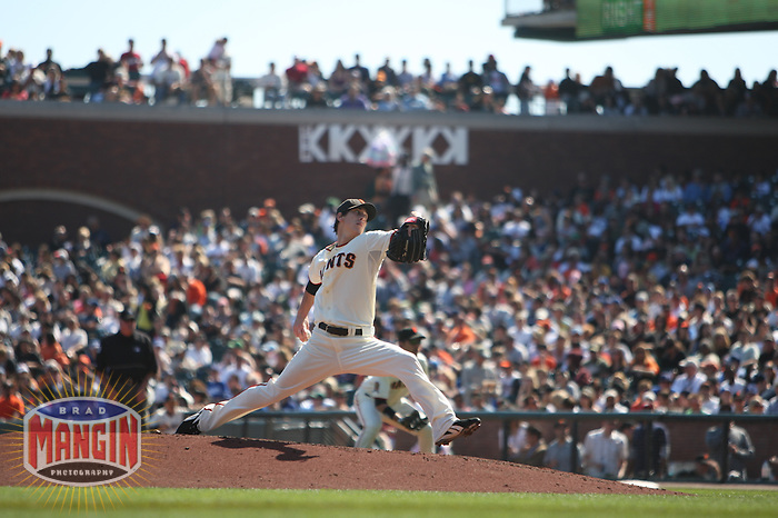 SAN FRANCISCO - SEPTEMBER 28:  Tim Lincecum of the San Francisco Giants pitches during the game against the Los Angeles Dodgers at AT&T Park in San Francisco, California on September 28, 2008.  The Giants defeated the Dodgers 3-1.  Photo by Brad Mangin