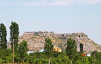 The Rozafa hilltop castle fortress fort between Shkodra and Lezhe. Albania, Balkan, Europe.