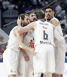 Real Madrid's Sergio Rodriguez, Sergio Llull, Andres Nocioni and Gustavo Ayon during Euroleague Quarter-Finals 3rd match. April 19,2016. (ALTERPHOTOS/Acero)