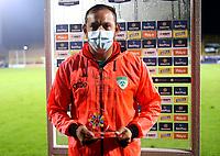 BOGOTA-COLOMBIA, 18-09-2020: Matias Mier de La Equidad jugador de la fecha, durante partido entre La Equidad y Boyaca Chico F.C. de la fecha 9 por la Liga BetPlay DIMAYOR I 2020, jugado en el estadio Metropolitano de Techo en la ciudad de Bogota. / Matias Mier of La Equidad phayer of the game, during a match between La Equidad and Boyaca Chico F.C., of the 9th date for of BetPlay DIMAYOR League I 2020 at the Metropolitano de Techo stadium in Bogota city. / Photo: VizzorImage  / Santiago Cortes / Cont.