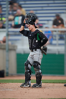 Dayton Dragons catcher Mark Kolozsvary (28) during a game against the Beloit Snappers on July 22, 2018 at Pohlman Field in Beloit, Wisconsin.  Dayton defeated Beloit 2-1.  (Mike Janes/Four Seam Images)
