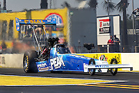 Mar. 15, 2013; Gainesville, FL, USA; NHRA top fuel dragster driver T.J. Zizzo during qualifying for the Gatornationals at Auto-Plus Raceway at Gainesville. Mandatory Credit: Mark J. Rebilas-
