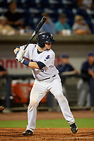 Pensacola Blue Wahoos Shrimp catcher Chris Okey (5) at bat during a game against the Jacksonville Jumbo on August 15, 2018 at Blue Wahoos Stadium in Pensacola, Florida.  Jacksonville defeated Pensacola 9-2.  (Mike Janes/Four Seam Images)