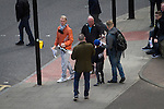 Newcastle United 1 Tottenham Hotspur 3 19/04/2015. St James Park, Premier League. Supporters handing out protest leaflets at the Gallowgate end of the stadium before Newcastle United host Tottenham Hotspurs in an English Premier League match at St. James' Park. The match was boycotted by a section of the home support critical of the role of owner Mike Ashley and sponsorship by a payday loan company. The match was won by Spurs by 3-1, watched by 47,427, the lowest league gate of the season at the stadium. Photo by Colin McPherson.