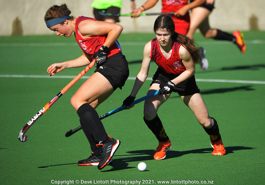 Action from the Wellington premier one women's hockey match between Hutt United and Toa at National Hockey Stadium in Wellington, New Zealand on Saturday, 15 May 2021. Photo: Dave Lintott / lintottphoto.co.nz