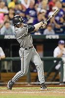 Vanderbilt Commodores shortstop Dansby Swanson (7) swings the bat during the NCAA College baseball World Series against the TCU Horned Frogs on June 16, 2015 at TD Ameritrade Park in Omaha, Nebraska. Vanderbilt defeated TCU 1-0. (Andrew Woolley/Four Seam Images)