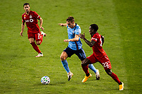 HARRISON, NJ - SEPTEMBER 23: HARRISON, NJ - Wednesday, September 23, 2020: James Sands, Richie Laryea during a game between New York City FC and Toronto FC on September 23, 2020 at Red Bull Arena in Harrison, New Jersey during a game between Toronto FC and New York City FC at Red Bull Arena on September 23, 2020 in Harrison, New Jersey.