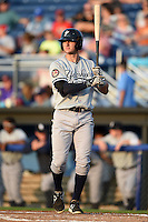 Staten Island Yankees outfielder Austin Aune (22) at bat during a game against the Batavia Muckdogs on August 8, 2014 at Dwyer Stadium in Batavia, New York.  Staten Island defeated Batavia 4-2.  (Mike Janes/Four Seam Images)