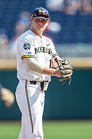 Michigan Wolverines infielder Riley Bertram (12) in action during Game 11 of the NCAA College World Series against the Texas Tech Red Raiders on June 21, 2019 at TD Ameritrade Park in Omaha, Nebraska. Michigan defeated Texas Tech 15-3 and is headed to the CWS Finals. (Andrew Woolley/Four Seam Images)