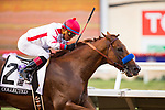 DEL MAR,CA-AUGUST 19: Collected,ridden by Martin Garcia, wins the TVG Pacific Classic at Del Mar Race Track on August 19,2017 in Del Mar,California (Photo by Kaz Ishida/Eclipse Sportswire/Getty Images)