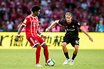 Bayern Munich Defender David Alaba (L) plays against AC Milan Defender Andrea Conti (R) during the 2017 International Champions Cup China  match between FC Bayern and AC Milan at Universiade Sports Centre Stadium on July 22, 2017 in Shenzhen, China. Photo by Marcio Rodrigo Machado / Power Sport Images
