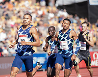 4th July 2021; Stockholm Olympic Stadium, Stockholm, Sweden; Diamond League Grand Prix Athletics, Bauhaus Gala; Elliot Giles leads in the mens 800m