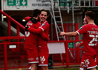 10th January 2021; Broadfield Stadium, Crawley, Sussex, England; English FA Cup Football, Crawley Town versus Leeds United; Tom Nichols of Crawley hugging his goal scorer and team mate Ashley Nadesan as he scores for 2-0 in the 53rd minute
