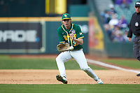 Baylor Bears first baseman Chase Wehsener (37) fields a ground ball during the game against the LSU Tigers in game five of the 2020 Shriners Hospitals for Children College Classic at Minute Maid Park on February 28, 2020 in Houston, Texas. The Bears defeated the Tigers 6-4. (Brian Westerholt/Four Seam Images)