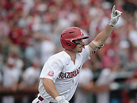 Arkansas left fielder Braydon Webb celebrates Friday, June 4, 2021, after hitting a two-run home run scoring shortstop Jalen Battles during the third inning of the Razorbacks' 13-8 win over New Jersey Institute of Technology in the first game of the NCAA Fayetteville Regional at Baum-Walker Stadium in Fayetteville. Visit nwaonline.com/210605Daily/ for today's photo gallery.<br /> (NWA Democrat-Gazette/Andy Shupe)