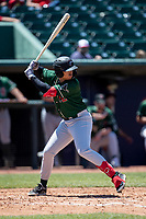 Great Lakes Loons third baseman Miguel Vargas (11) at bat on May 30, 2021 against the Lansing Lugnuts at Jackson Field in Lansing, Michigan. (Andrew Woolley/Four Seam Images)