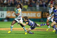 20120803 Copyright onEdition 2012©.Free for editorial use image, please credit: onEdition..Marland Yarde of London Irish is tackled by Tom Heathcote of Bath Rugby at The Recreation Ground, Bath in the Final round of The J.P. Morgan Asset Management Premiership Rugby 7s Series...The J.P. Morgan Asset Management Premiership Rugby 7s Series kicked off again for the third season on Friday 13th July at The Stoop, Twickenham with Pool B being played at Edgeley Park, Stockport on Friday, 20th July, Pool C at Kingsholm Gloucester on Thursday, 26th July and the Final being played at The Recreation Ground, Bath on Friday 3rd August. The innovative tournament, which involves all 12 Premiership Rugby clubs, offers a fantastic platform for some of the country's finest young athletes to be exposed to the excitement, pressures and skills required to compete at an elite level...The 12 Premiership Rugby clubs are divided into three groups for the tournament, with the winner and runner up of each regional event going through to the Final. There are six games each evening, with each match consisting of two 7 minute halves with a 2 minute break at half time...For additional images please go to: http://www.w-w-i.com/jp_morgan_premiership_sevens/..For press contacts contact: Beth Begg at brandRapport on D: +44 (0)20 7932 5813 M: +44 (0)7900 88231 E: BBegg@brand-rapport.com..If you require a higher resolution image or you have any other onEdition photographic enquiries, please contact onEdition on 0845 900 2 900 or email info@onEdition.com.This image is copyright the onEdition 2012©..This image has been supplied by onEdition and must be credited onEdition. The author is asserting his full Moral rights in relation to the publication of this image. Rights for onward transmission of any image or file is not granted or implied. Changing or deleting Copyright information is illegal as specified in the Copyright, Design and Patents Act 1988. If you are in any way unsure of your right to publish