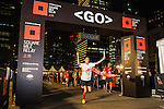 The winner crosses the finishing line at the Bloomberg Square Mile Relay near the Huangpu River in Shanghai, China.  Photo by Lucas Schifres / Power Sport Images