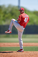 Philadelphia Phillies pitcher Julian Garcia (47) during a Minor League Spring Training game against the Pittsburgh Pirates on March 23, 2018 at the Carpenter Complex in Clearwater, Florida.  (Mike Janes/Four Seam Images)