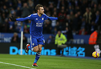 Leicester City's Jamie Vardy celebrates scoring the opening goal from the penalty spot <br /> <br /> <br /> <br /> Photographer Stephen White/CameraSport<br /> <br /> The Premier League - Leicester City v Watford - Saturday 1st December 2018 - King Power Stadium - Leicester<br /> <br /> World Copyright © 2018 CameraSport. All rights reserved. 43 Linden Ave. Countesthorpe. Leicester. England. LE8 5PG - Tel: +44 (0) 116 277 4147 - admin@camerasport.com - www.camerasport.com