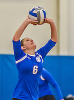 18 October 2015: Yeshiva University Maccabee Setter and Defensive Specialist Yael Ghelman, a Sophomore from Houston, TX, sets during game action against the Sage College Gators, at the Peter Sharp Center, College of Mount Saint Vincent, in Riverdale, NY. The Gators defeated the Maccabees 3-0 in the NCAA Division III Women's Volleyball Skyline matchup. Mandatory Credit: Ed Wolfstein Photo *** RAW (NEF) Image File Available ***