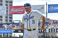 Pitching Coach Mark Brewer (35) of the Hartford Yard Goats returns to the dugout after making a trip to the mound during a game against the Binghamton Rumble Ponies at Dunkin Donuts Park on May 9, 2018 in Hartford, Connecticut. (Gregory Vasil/Four Seam Images)