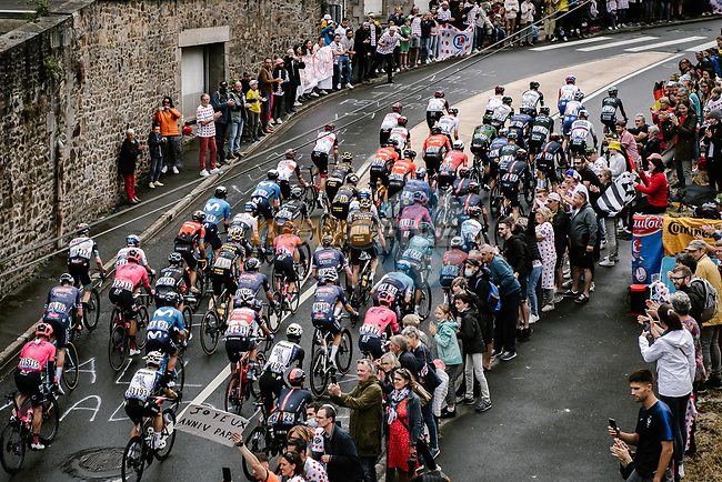 The peloton pass by during Stage 2 of the 2021 Tour de France, running 183.5km from Perros-Guirec to Mur-de-Bretagne Guerledan, France. 27th June 2021.  <br /> Picture: A.S.O./Pauline Ballet | Cyclefile<br /> <br /> All photos usage must carry mandatory copyright credit (© Cyclefile | A.S.O./Pauline Ballet)
