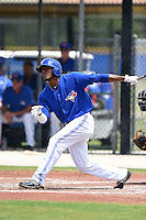 GCL Blue Jays shortstop Edwin Fuentes (16) at bat during a game against the GCL Yankees 2 on July 2, 2014 at the Bobby Mattick Complex in Dunedin, Florida.  GCL Yankees 2 defeated GCL Blue Jays 9-6.  (Mike Janes/Four Seam Images)