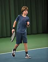 Rotterdam, The Netherlands, 07.03.2014. NOJK ,National Indoor Juniors Championships of 2014,  Daan van Dijk (NED)   Quinn Groenendijk (NED)<br /> Photo:Tennisimages/Henk Koster