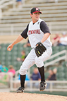 Relief pitcher Paul Burnside #43 of the Kannapolis Intimidators in action against the West Virginia Power at Fieldcrest Cannon Stadium on April 20, 2011 in Kannapolis, North Carolina.   Photo by Brian Westerholt / Four Seam Images