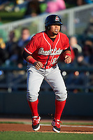 Great Lakes Loons first baseman Josmar Cordero (16) leads off first during a game against the Dayton Dragons on May 21, 2015 at Fifth Third Field in Dayton, Ohio.  Great Lakes defeated Dayton 4-3.  (Mike Janes/Four Seam Images)