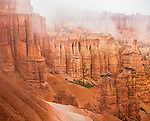 Bryce Canyon National Park, UT: Fog in the sandstone formations and hoodoos of Bryce Canyon