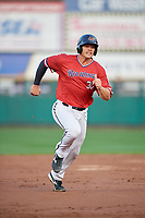 Rochester Red Wings catcher Anthony Recker (30) running the bases during the first game of a doubleheader against the Scranton/Wilkes-Barre RailRiders on August 23, 2017 at Frontier Field in Rochester, New York.  Rochester defeated Scranton 5-4 in a game that was originally started on August 22nd but postponed due to inclement weather.  (Mike Janes/Four Seam Images)