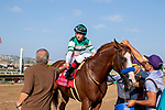 """DEL MAR, CA  AUGUST 25:   #1 Catalina Cruiser, ridden by Drayden Van Dyke, return to the connections after winning the Pat O'Brien Stakes (Grade ll), Breeders' Cup """"Win and You're In Dirt Mile Division"""" on August 25, 2018 at Del Mar Thoroughbred Club in Del Mar, CA.(Photo by Casey Phillips/Eclipse Sportswire/Getty ImagesGetty Images"""