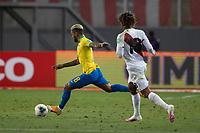 13th October 2020; National Stadium of Peru, Lima, Peru; FIFA World Cup 2022 qualifying; Peru versus Brazil;  Douglas Luiz of Brazil takes a shot on goal