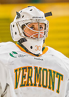 1 February 2015: University of Vermont Catamount Goaltender Madison Litchfield, a Sophomore from Williston, VT, looks up at the scoreboard in the first period against the visiting Providence College Friars at Gutterson Fieldhouse in Burlington, Vermont. The Lady Cats defeated the Friars 7-3 in Hockey East play. Mandatory Credit: Ed Wolfstein Photo *** RAW (NEF) Image File Available ***
