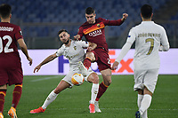 Andraz Sporar of SC Braga and Gianluca Mancini of AS Roma compete for the ball during the Europa League round of 32 2nd leg football match between AS Roma and Braga at stadio Olimpico in Rome (Italy), February, 25th, 2021. Photo Andrea Staccioli / Insidefoto