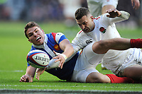 Antoine Dupont of France and Jonny May of England battle for a loose ball in the French in goal area during the Guinness Six Nations match between England and France at Twickenham Stadium on Sunday 10th February 2019 (Photo by Rob Munro/Stewart Communications)