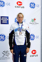 Photo: Richard Lane/Richard Lane Photography. GE Parc Bryn Bach Triathlon. 19/09/2010. Lucy Chittenden (3rd) after the Junior Super Series Females' race.