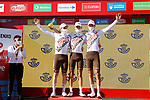 AG2R Citroen Team best team at the end of Stage 20 of La Vuelta d'Espana 2021, running 202.2km from Sanxenxo to Mos, Spain. 4th September 2021.    <br /> Picture: Luis Angel Gomez/Photogomezsport | Cyclefile<br /> <br /> All photos usage must carry mandatory copyright credit (© Cyclefile | Luis Angel Gomez/Photogomezsport)