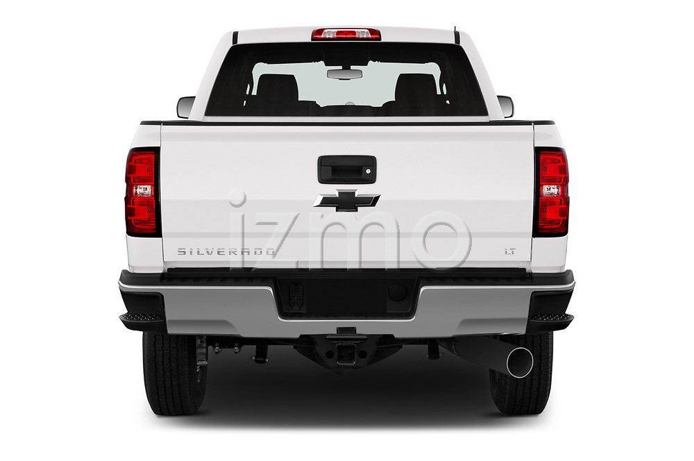 Straight rear view of a 2018 Chevrolet Silverado 2500HD LT 4WD Crew Cab 4 Door Pick Up stock images