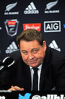 All Blacks head coach Steve Hansen talks to the media after the Steinlager Series rugby union match between the New Zealand All Blacks and Wales at Westpac Stadium, Wellington, New Zealand on Saturday, 18 June 2016. Photo: Dave Lintott / lintottphoto.co.nz