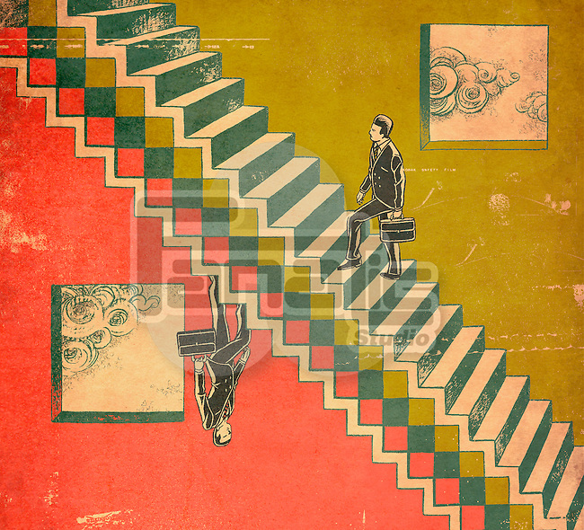 Conceptual illustration of businessmen on steps representing success and failure of business